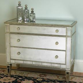 Antiqued Mirrored Chest of Drawers, Shades of Light