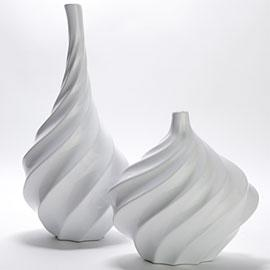 Decor/Accessories - Swirl Vase - white vases