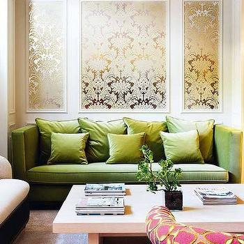 living rooms - damask metallic wallpaper, metallic wallpaper, damask wallpaper, metallic damask wallpaper, damask metallic wallpaper, gold metallic wallpaper, gold damask wallpaper, green sofa, green velvet sofa, high back sofa, green velvet pillows,