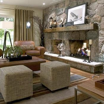 Candice Olson - basements - candice olson living room, candice olson living rooms, candice olson rooms, candace olson design, candice olson interior design, candice olson, linen ottomans, cube ottomans, club chairs, leather club chairs, stone fireplace,