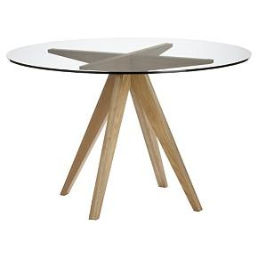 Tables - Teepee Dining Table - Dining Table, Glass top, Wood base