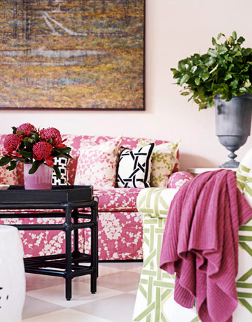 living rooms - pink, couch, black, coffee, table, green, lattice, chair, black, white, lattice, pillows,  all about the color  pink sofa, green