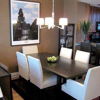 dining rooms - taupe paint, taupe paint colors, taupe paint color, taupe walls, taupe dining room, parsons chairs, white parsons chair, parsons dining chairs, white parsons dining chairs,