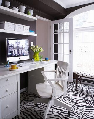 dens/libraries/offices - Office Chair, Zebra Rug, zebra rug, white desk, floating shelves, shelves over desk, shelves above desk, shelving over desk, shelving above desk,