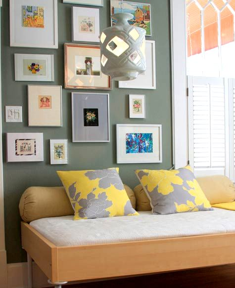 Gray and yellow pillows contemporary bedroom design Grey sponge painted walls