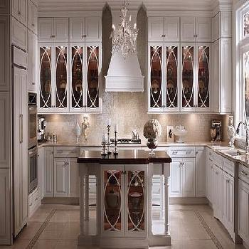 Kraftmaid - kitchens - kraftmaid, glass tiles, glass tile backsplash, glass front kitchen cabinets, Vetro Neutra Glass Mosaic Lux Tiles,  cabinets