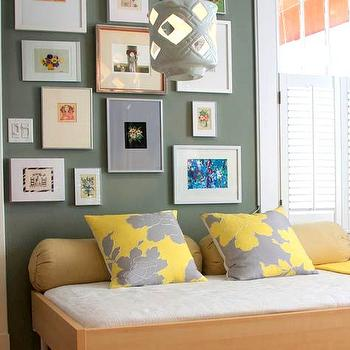 Gray and Yellow PIllows, Contemporary, bedroom, Design Sponge
