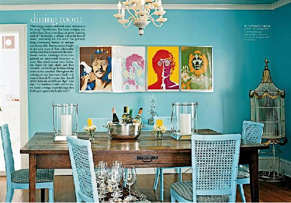 dining rooms - turquoise, dining, chairs, wood, table, blue, walls, paint, color,  Love the turquoise chair with the wooden table. So fun!!!