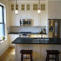 Brooklyn Limestone - kitchens - white kitchen, inset cabinetry, soapstone countertops, soapstone island, soapstone kitchen island, Soapstone,