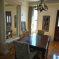 Brooklyn Limestone - dining rooms - damask dining chairs, blue damask chairs, blue damask dining chairs, parquet wood floors, gray silk curtains, restoration hardware dining chairs, martine dining chair, martine chair, Restoration Hardware Martine Chair,