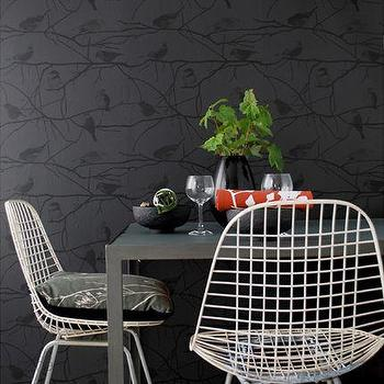 Wallpaper - Ferm Living - Birds on Branches Wallpaper - Wallpaper - Living Green & Modern - black wallpaper
