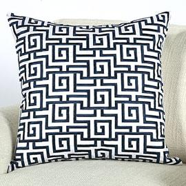 freckles chic: Home - Z Gallerie - Labyrinth Pillow - Indigo 20 - black, white, graphic, greek key pattern