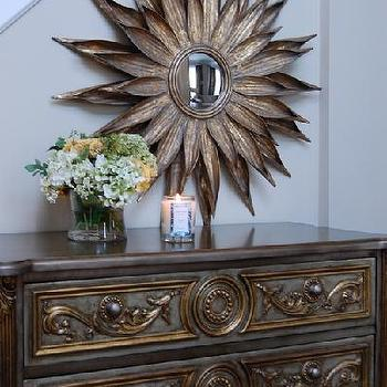 entrances/foyers - entrance, foyer, grant beige, sunburst mirror, gold sunburst mirror, gold chest, gold chest of drawers, gold leaf chest, 3 drawer chest, gold 3 drawer chest, pier 1 mirror, sunflower mirror, foyer chest, Pier 1 Sunburst Mirror, Horchow Gold Leaf Chest,