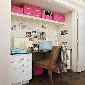 dens/libraries/offices - closet office, office in closet, closet desk, desk in closet, closet work space, work space in closet, closet converted into office, converted closet office, converted office closet, closet transformed into office, closet turned office, pink accents,