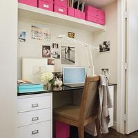 dens/libraries/offices - turquoise, blue, hot pink, file, photo, box, boxes, built-in, white, desk, black, granite, top, wood, chair, closet, office, closet office, office in closet, closet desk, desk in closet, closet work space, work space in closet, closet converted into office, converted closet office, converted office closet, closet transformed into office, closet turned office,