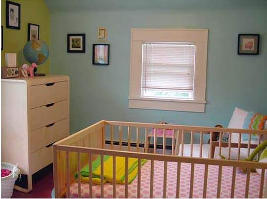 nurseries - Valspar - Crystal Aqua - aqua paint, aqua paint colors, nursery paint colors,  Ohdeedoh  IKEA furniture - blue and green walls, white