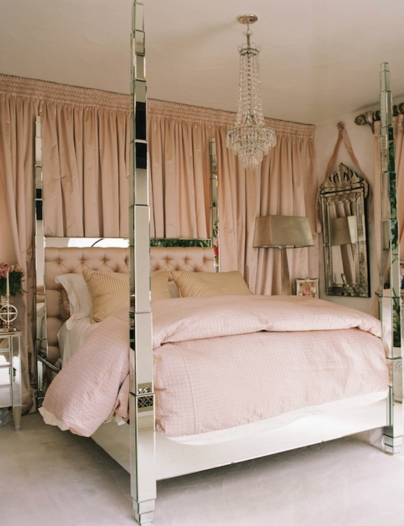 bedrooms - Paris Hilton, mirrored poster, bed, pink, tufted, headboard, venetian, mirror, pink, bedding, mirrored headboard, mirror headboard, mirrored bed,