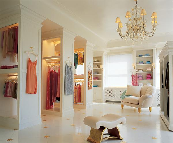 closets - closet, chandelier, marble, floors,  Mariah Carey  crystal chandelier, marble floors, chair and built-ins.