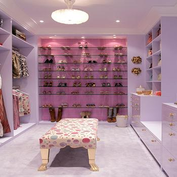 Drake Design Associates - closets - closet, glass, shoe shelves, white, cabinets, shoe cabinet, shoe cabinets, shoe shelves, shelves for shoes, shoe storage, shoe closet, closet shoe shelves, shoe racks, closet shoe racks, glass shoe shelves, glass shoe racks, pink closet, pink and purple closet, lacquered cabinets, lacquered closet cabinets,