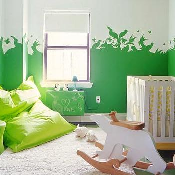 Domino Magazine - nurseries - polar bear rocker, green nursery, green bean bag, green nursery mural, nursery mural,  Polar bear rocker by Netto,