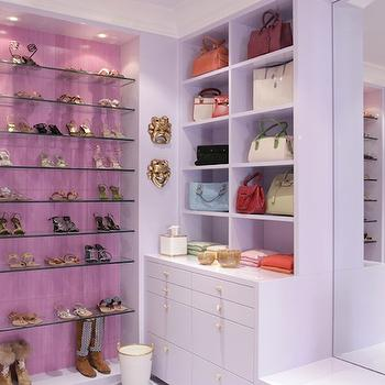 Drake Design Associates - closets - shoe cabinet, shoe cabinets, shoe shelves, shelves for shoes, shoe storage, shoe closet, closet shoe shelves, shoe racks, closet shoe racks, glass shoe shelves, glass shoe rack, pink closet, pink and purple closet,