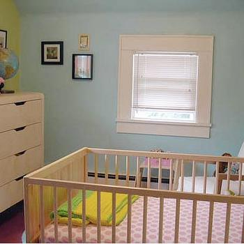 nurseries - aqua paint, aqua paint colors, nursery paint colors,  Ohdeedoh  IKEA furniture - blue and green walls, white crib and white dresser.
