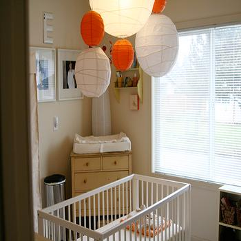 nurseries - corner changing table, tan and orange nursery, beige and orange nursery, crib lanterns, nursery crib lanterns,  Paper lanterns  white