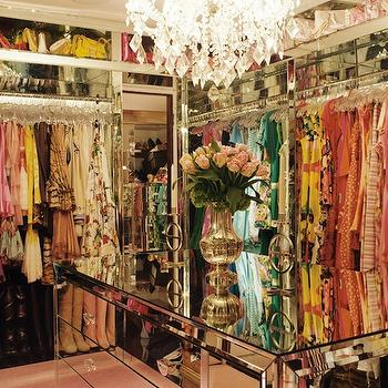 closets - mirrored, chest, mirrored closet island, mirrored cabinets, mirrored chest, closet island, paris hilton closet,  Paris Hilton Closet
