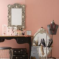 closets - closet, vanity, pink, black, vanity, bone, in lay, mirror, bone inlay, bone inlay mirror, inlaid mirror, bone inlaid mirror, black bone inlay mirror, black and white bone inlay mirror, flower bone inlay mirror, Scalloped Edged Mirror In Black And Carved Bone Relief,