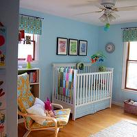 nurseries - nursery, blue, walls, white, crib, yellow, blue, chair,  Ohdeedoh nursery pic  white crib, blue walls paint color, yellow and blue