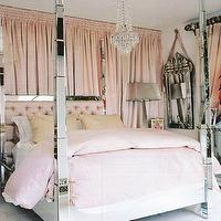 bedrooms - mirrored headboard, mirror headboard, mirrored bed, curtains behind bed, curtains behind headboard, drapes behind bed, pink curtains, pink drapes, mirrored poster bed, mirrored 4 poster bed, pink tufted headboard, venetian mirror,