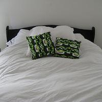 bedrooms - black, headboard, bed, white, lamps, green, black, pillows, bedroom,  via Apartment Therapy  Love the lamps and black/white combo!