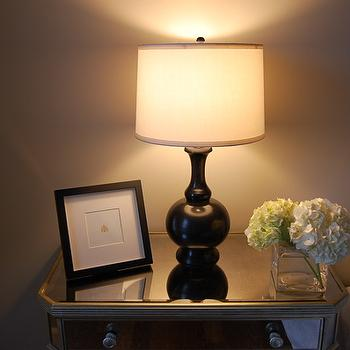 Mirrored Bedside Table, Eclectic, bedroom, Benjamin Moore Revere Pewter