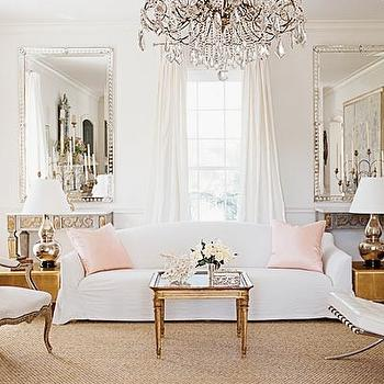 living rooms - french living room, french living room ideas, camelback sofa, white camelback sofa, pink pillows, pink silk pillows, french coffee table,