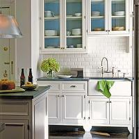 kitchens - painted back of cabinets, back of cabinets painted, painted back of kitchen cabinets, subway tiles, subway tile backsplash, farmhouse sink, raised kitchen cabinets,