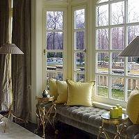 living rooms - gray, velvet, tufted, window seat, yellow, pillows, gray, silk, drapes, bay, window, brass, French, accent, tables, , gray tufted bench, yellow pillows, yellow and gray room, gray and yellow room,