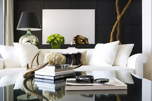 Decorative antlers contemporary living room - Black sofas living room design ...