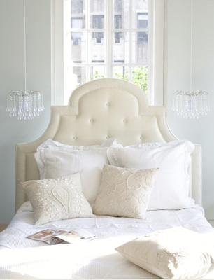 bedrooms - Pottery Barn York Headboard, Urban Outfitters Tear Drop Chandelier, white, tan, blue, gray, teardrop chandelier, tufted, cream, upholstered, headboard, pillows, bedding, cream, bedroom, bed in front of window, glass drop chandelier,