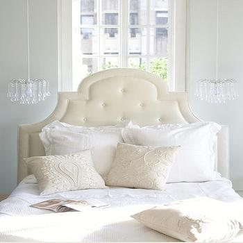 bedrooms - bed in front of window, glass drop chandelier, headboard in front of window, serene bedroom, Pottery Barn York Headboard, Urban Outfitters Tear Drop Chandelier,