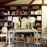 dens/libraries/offices - parsons desk, white parsons desk, zebra rug, zebra cowhide rug, , Ghost Chair, Zebra Cowhide Rug,  Casual but chic office