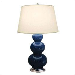 Robert Abbey 368X, Triple Gourd Large Table Lamp in Marine Blue with Antique Silver