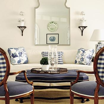House Beautiful - living rooms - white and navy living room, white and navy blue living room, white sofa, navy ottoman, navy plaid chairs,  Mirror,