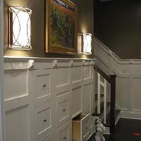 entrances/foyers - sconces, built-ins, storage, drawers, wainscoting, taupe paint, taupe paint colors, taupe paint color, taupe walls,  Hooked