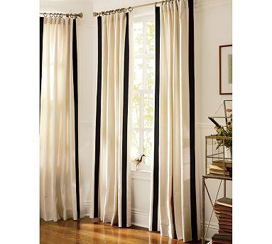Black and white striped outdoor curtains