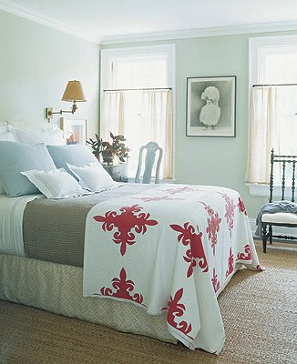 bedrooms - Benjamin Moore - Hancock Green - blue green gray pink tan sisal rug sky blue throw pillows gray flannel blanket red white quilt blanket brass sconces black accent sky blue walls paint color bedroom