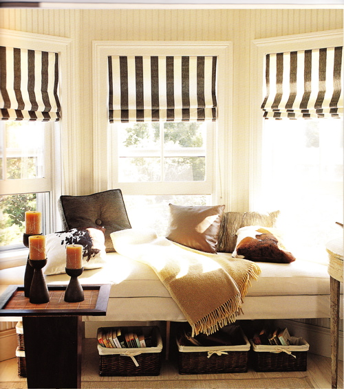 bedrooms - black, white, striped, silk, roman shades, built-in, window seat, storage, baskets, bay, window, ivory, cream, striped, wallpaper, window seat, bedroom window seat, window seat in bedroom,