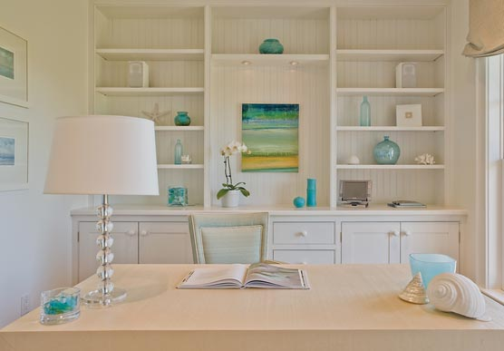 Carter &amp; Company Interior Design - dens/libraries/offices - turquoise, blue, green, beachy, glass, stacked ball, lamp, white, built-ins, shelves, cabinets, desk, chair, blue, green, yellow, beachy, art, blue, glass, accents, vases, bottles,
