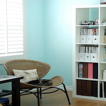 dens/libraries/offices - turquoise walls, turquoise blue walls, turquoise wall paint, turquoise blue wall paint, turquoise paint, turquoise blue paint, ikea expedit,
