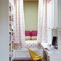girl's rooms - white, pink, polka dot, bedding, pink throw pillows, green, polka dot, lumbar, pillows, pink, white, polka dot drapes, white, desk, bookshelves, cabinets, yellow, orange, lucite, acrylic, chair, skylight, wood floors, green walls,