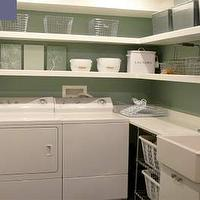 Style at Home - laundry/mud rooms - Washer, Dryer, farmhouse, sink, green, walls, white, floating shelves, laundry shelves, laundry room shelves, laundry room shelving, laundry room shelf,